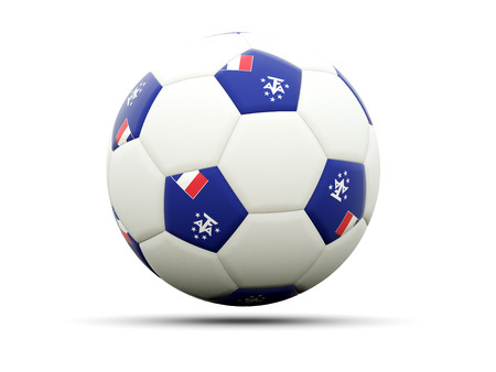 territories: Flag of french southern territories on football, isolated on white. 3D illustration