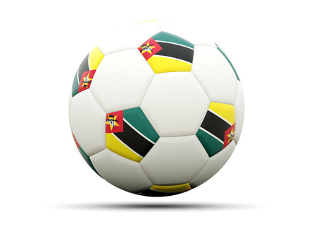 mozambique: Flag of mozambique on football, isolated on white. 3D illustration Stock Photo