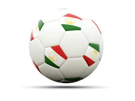 tajikistan: Flag of tajikistan on football, isolated on white. 3D illustration