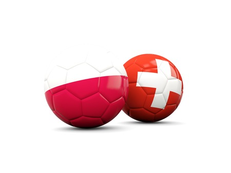 playoff: Poland and Switzerland soccer balls isolated on white. 3D illustration Stock Photo