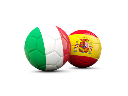 playoff: Spain and Italy soccer ballsisolated on white. 3D illustration