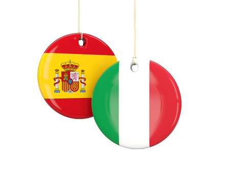 playoff: Italy and spain soccer teams round labes. 3D illustration