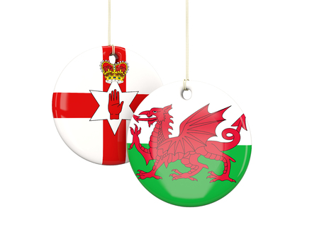northern ireland: Northern Ireland and Wales soccer teams round labes. 3D illustration