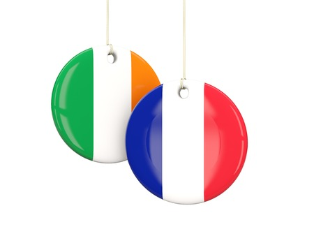playoff: France and Ireland soccer teams round labes. 3D illustration