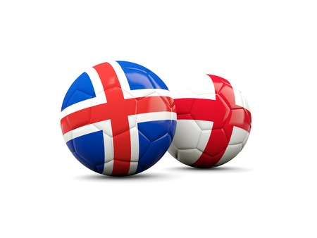 playoff: England and Iceland soccer balls isolated on white. 3D illustration
