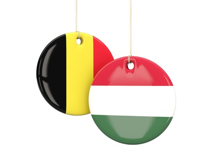 playoff: Hungary and Belgium soccer teams round labes. 3D illustration