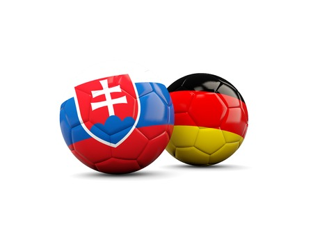 playoff: Germany and Slovakia soccer balls isolated on white. 3D illustration