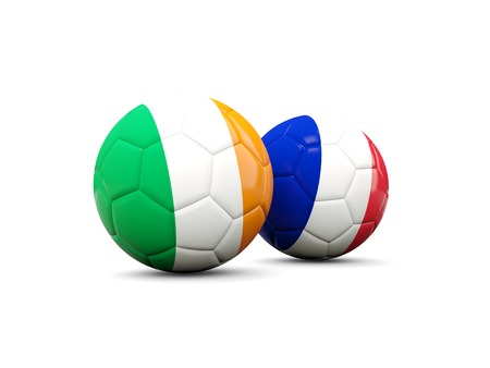playoff: France and Ireland soccer balls isolated on white. 3D illustration Stock Photo