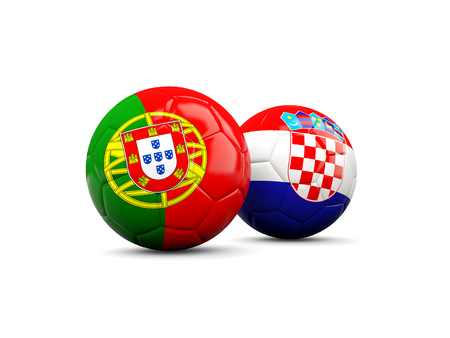 playoff: Croatia and Portugal soccer balls isolated on white. 3D illustration