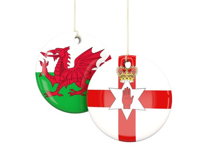 playoff: Northern Ireland and Wales soccer teams round labes. 3D illustration
