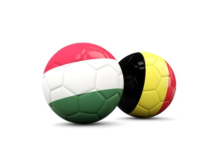 playoff: Hungary and Belgium soccer balls isolated on white. 3D illustration