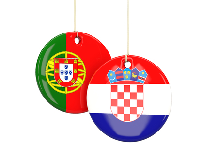 playoff: Portugal and Croatia soccer teams round labes. 3D illustration