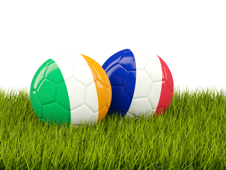 playoff: France and Ireland soccer balls on grass. 3D illustration Stock Photo
