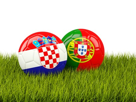 playoff: Portugal and Croatia soccer balls on grass. 3D illustration Stock Photo