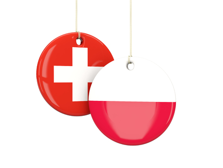 playoff: Switzerland and poland soccer teams round labes. 3D illustration