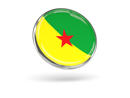 guiana: Flag of french guiana. Round icon with metal frame, 3D illustration Stock Photo