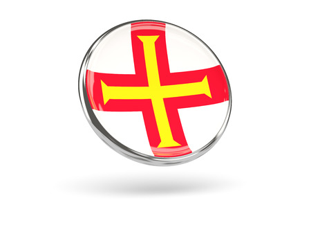 guernsey: Flag of guernsey. Round icon with metal frame, 3D illustration Stock Photo
