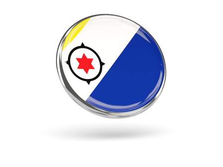 Flag Of Bonaire. Round Icon With Metal Frame, 3D Illustration Stock ...