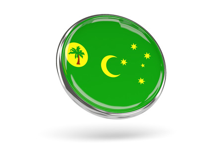 cocos: Flag of cocos islands. Round icon with metal frame, 3D illustration Stock Photo