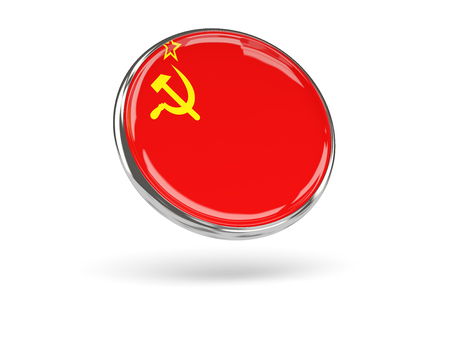 ussr: Flag of ussr. Round icon with metal frame, 3D illustration