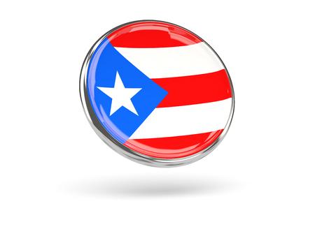 bandera de puerto rico: Bandera de Puerto Rico. Icono de ronda con marco de metal, ilustración 3D