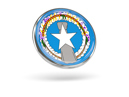 mariana: Flag of northern mariana islands. Round icon with metal frame, 3D illustration Stock Photo