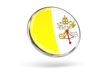 vatican city: Flag of vatican city. Round icon with metal frame, 3D illustration Stock Photo