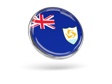 anguilla: Flag of anguilla. Round icon with metal frame, 3D illustration