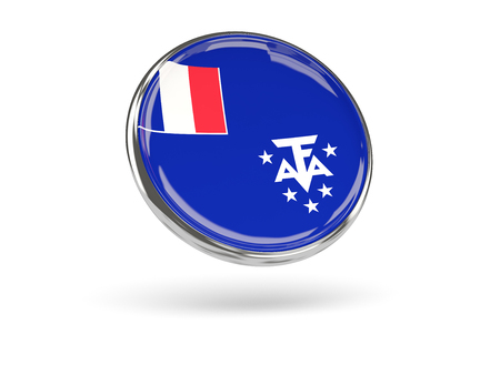 territories: Flag of french southern territories. Round icon with metal frame, 3D illustration Stock Photo