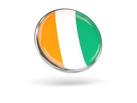 cote d ivoire: Flag of cote d Ivoire. Round icon with metal frame, 3D illustration Stock Photo
