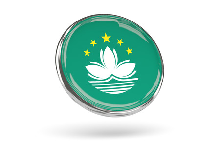 macao: Flag of macao. Round icon with metal frame, 3D illustration