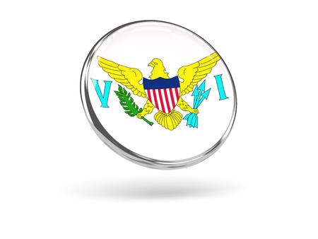 virgin islands: Flag of virgin islands us. Round icon with metal frame, 3D illustration