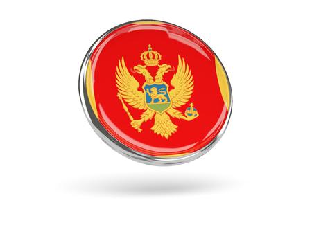 white flag: Flag of montenegro. Round icon with metal frame, 3D illustration