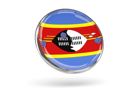 swaziland: Flag of swaziland. Round icon with metal frame, 3D illustration