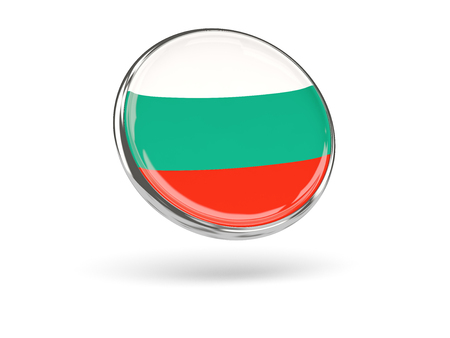 metal frame: Flag of bulgaria. Round icon with metal frame, 3D illustration