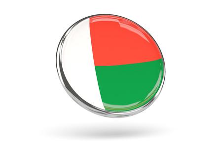 metal frame: Flag of madagascar. Round icon with metal frame, 3D illustration