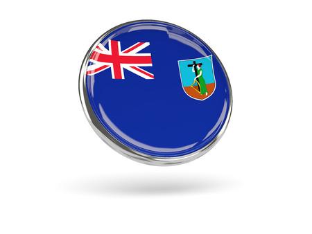 metal frame: Flag of montserrat. Round icon with metal frame, 3D illustration