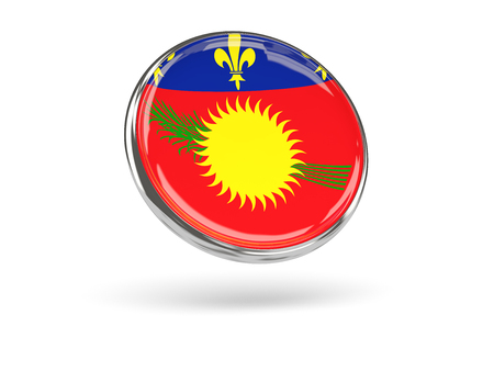 guadeloupe: Flag of guadeloupe. Round icon with metal frame, 3D illustration Stock Photo
