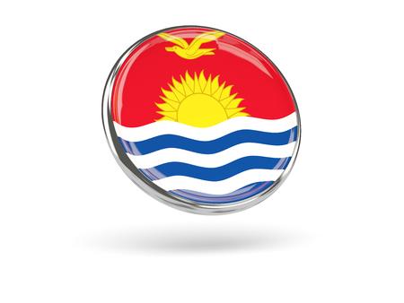 kiribati: Flag of kiribati. Round icon with metal frame, 3D illustration Stock Photo