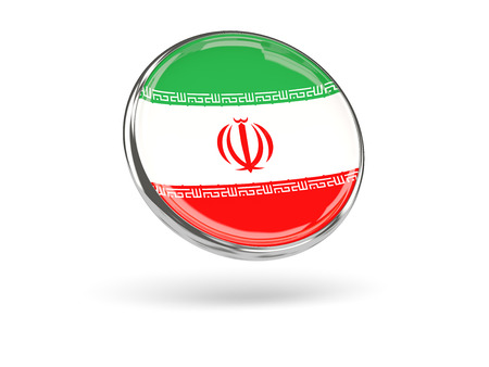 metal frame: Flag of iran. Round icon with metal frame, 3D illustration