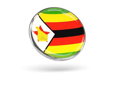 metal frame: Flag of zimbabwe. Round icon with metal frame, 3D illustration