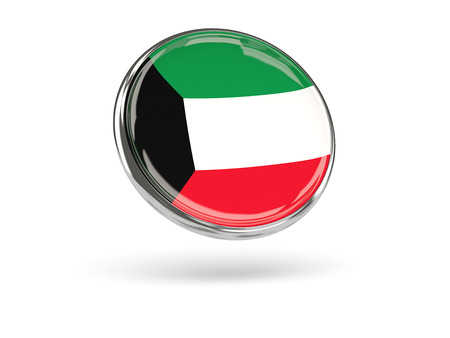 metal frame: Flag of kuwait. Round icon with metal frame, 3D illustration