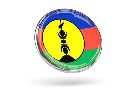 new caledonia: Flag of new caledonia. Round icon with metal frame, 3D illustration