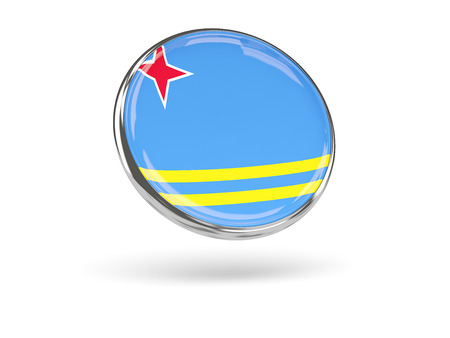 Flag Of Aruba. Round Icon With Metal Frame, 3D Illustration Stock ...