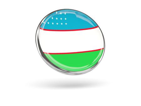 uzbekistan: Flag of uzbekistan. Round icon with metal frame, 3D illustration