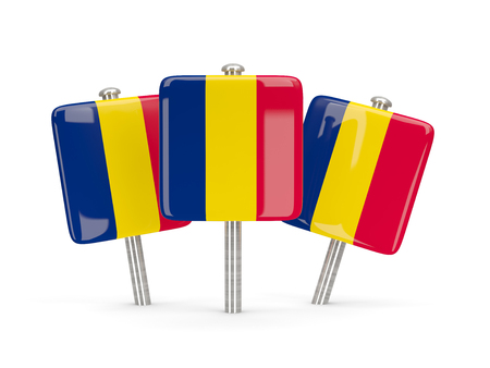 chad: Flag of chad, three square pins. 3D illustration Stock Photo