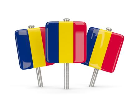 chad: Flag of chad, three square pins. 3D illustration Stock Photo
