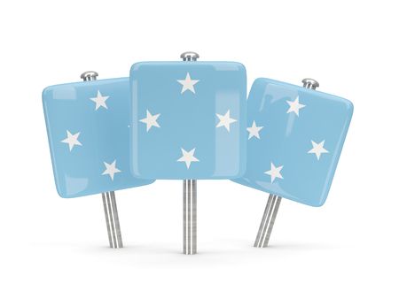 micronesia: Flag of micronesia, three square pins. 3D illustration