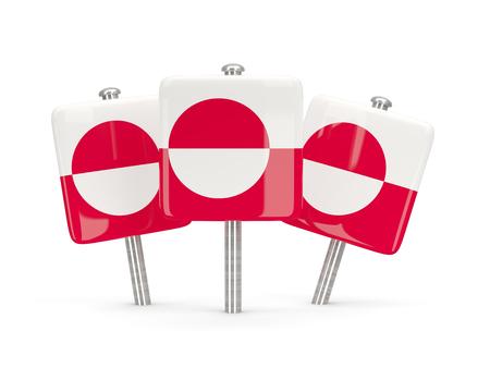 greenland: Flag of greenland, three square pins. 3D illustration Stock Photo
