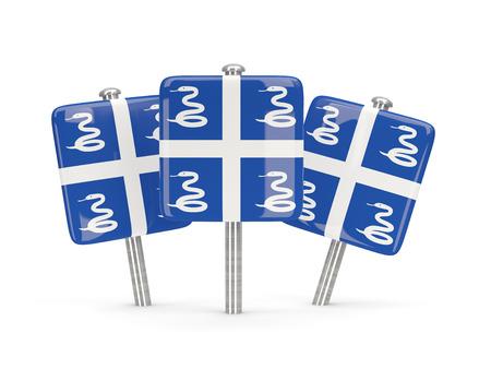 martinique: Flag of martinique, three square pins. 3D illustration